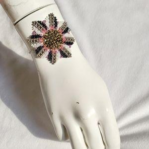 Boho handbeaded flower design and silver bracelet
